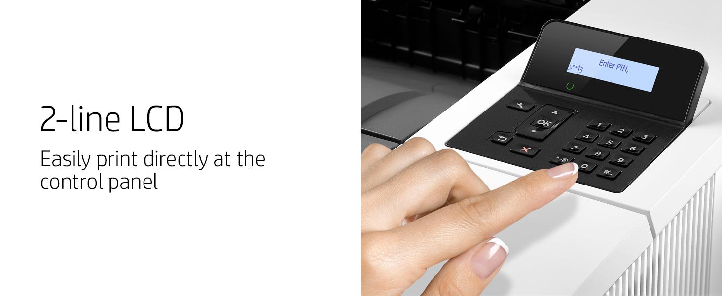 numeric keypad 2-line lcd laserjet pro control panel easy printing