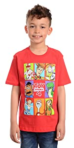 Marvel Little Boy's Boys Toy Story 4 Group Box T-shirt Shirt, Red, 4