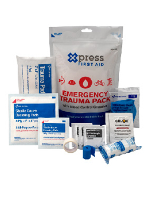 Xpress First Aid Emergency Trauma Pack with Bleed Control Granules