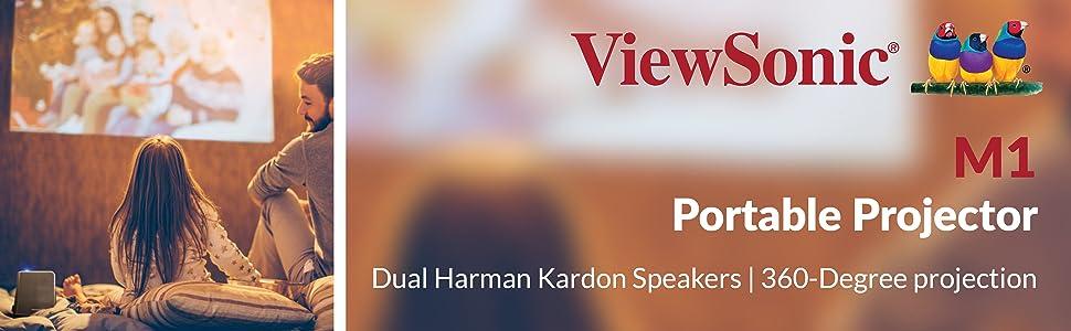 ViewSonic M1 Portable Projector Harman Kardon Speakers 360 Projection