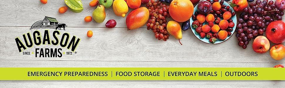 Augason Farms Emergency Preparedness Food Storage Fruit Strawberries Apple Banana Raspberries
