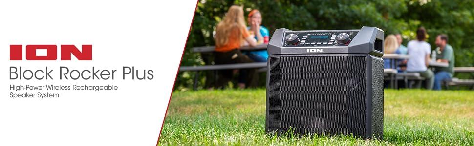100W Battery Speaker, Easy-Pair, AM/FM, Aux, Bluetooth, Wheels, Handle, Microphone, USB Charging