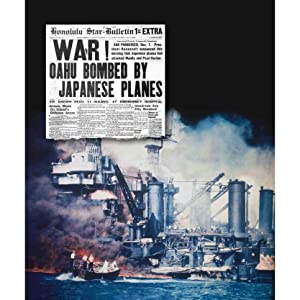 honolulu star-bulletin headline about the japanese attack on pearl harbor over a photo of the attack