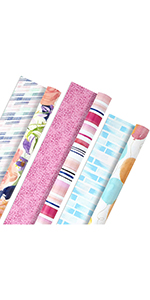 Watercolor gift wrap in pretty florals and stripes for babies, brides, moms, sisters & daughters