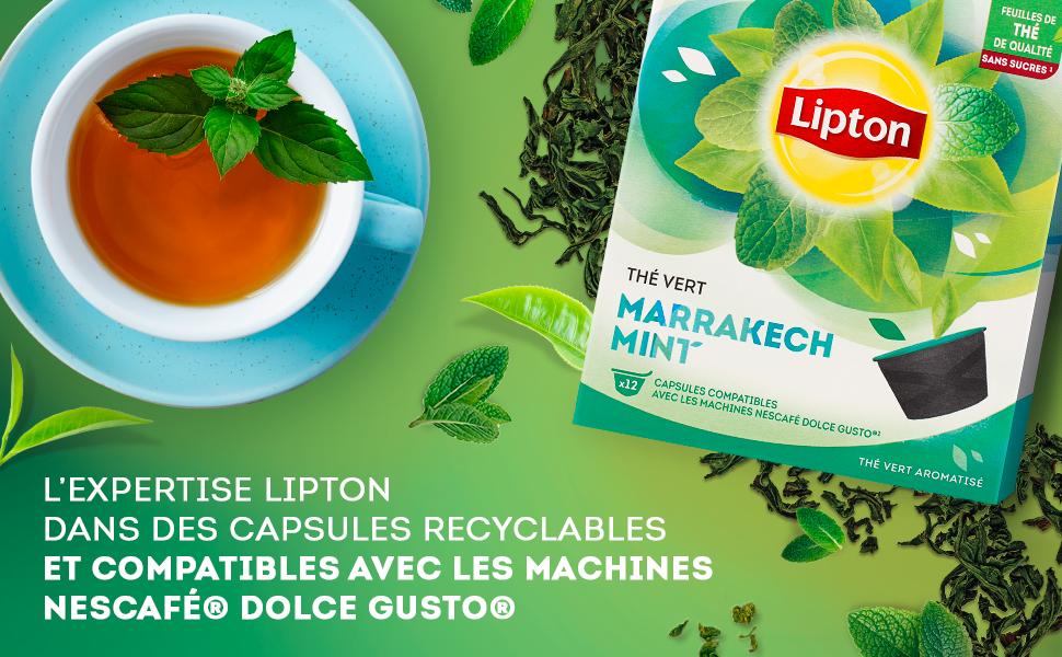 Lexpertise Lipton dans des capsules recyclables et compatible avec les machines Nescafé Dolce Gusto