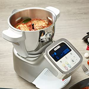 Moulinex i-Companion HF900110 - Robot de cocina Bluetooth 13 programas y 6 accesorios capacidad 6 personas, incluye cuchilla picadora, batidor, ...