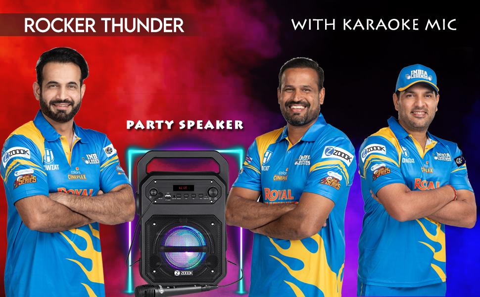 rocker thunder; Party Speaker; bluetooth party speaker; zoook; karaoke; mic speaker;