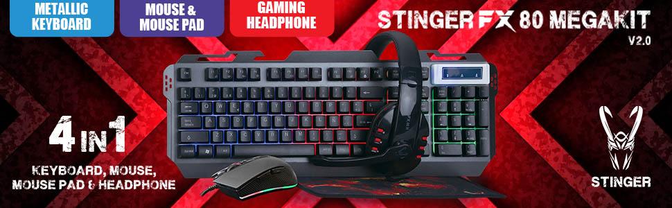 Woxter Stinger FX 80 Megakit - Kit gaming (Teclado retroiluminado de base metálica, ratón óptico hasta 3200 DPI, alfombrilla de microfibra 25x21 y ...