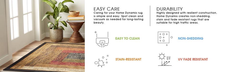 fade resistant rugs, easy clean rugs