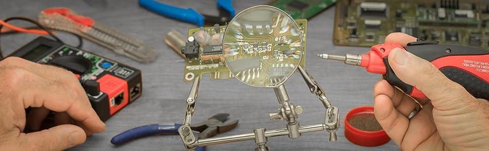 adjustable metal base solder soldering electrical work orbital joints wing nuts 4X diopter