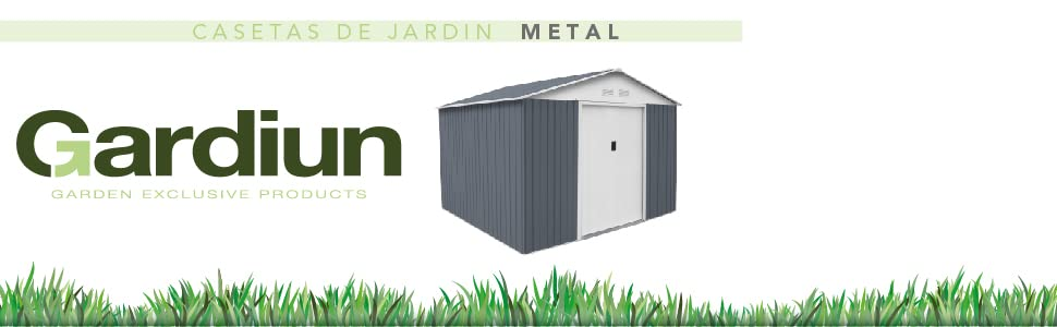 Gardiun KIS12140 - Caseta Metálica Yorkshire - 2,43 m² Exterior 121x201x190 cm Acero Galvanizado Verde: Amazon.es: Jardín