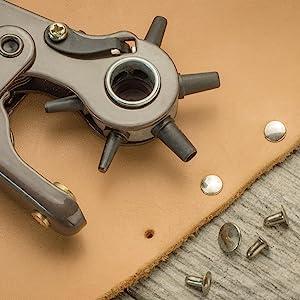 heavy duty revolving leather hole punch install eyelets decorative rivets leather craft leathercraft