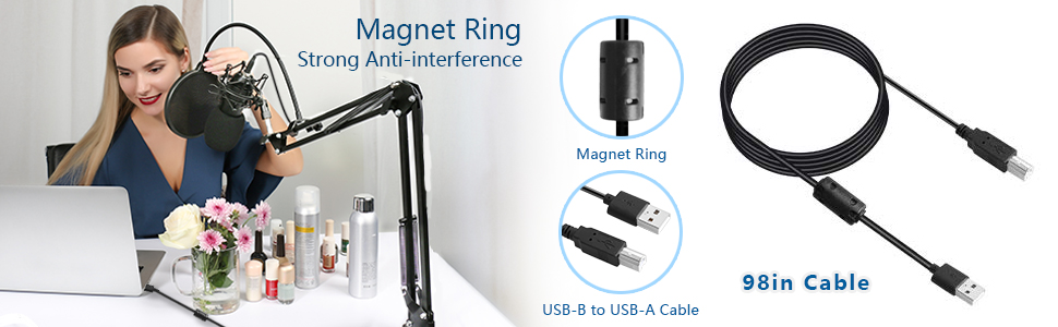 98inch USB cable magnet ring strong anti-interference usb b to usb a cable