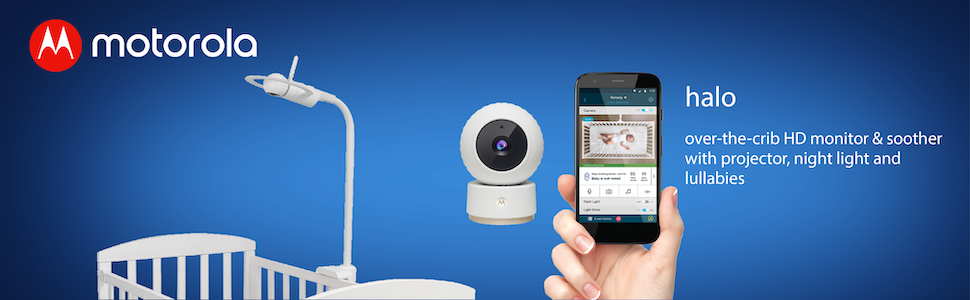 Motorola Halo Over-The-Crib Baby Monitor /& Soother with HD Wi-Fi Camera