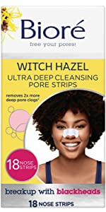 biore witch hazel ultra deep cleansing pore strips blackhead removal clogged pores nose strips