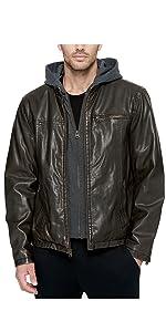 Levi's men's Faux Leather Hooded Racer Jacket