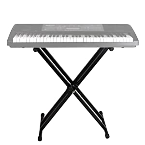 Soporte de teclado RockJam ajustable con doble refuerzo y con correas de bloqueo