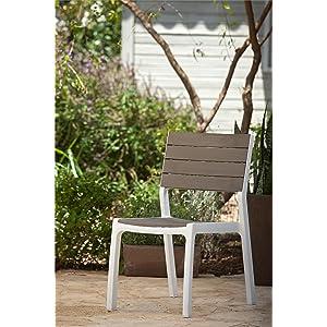 Keter - Silla de jardín exterior Harmony sin brazos, Color Beige / topo