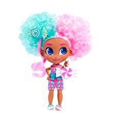 hairdorables, youtube show, dee dee, baker, cook, curly hair, pink and teal hair, pink and blue hair