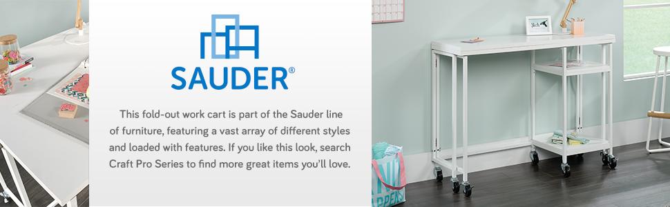 White Finish Sauder Craft Pro Series Fold-Out Work Cart