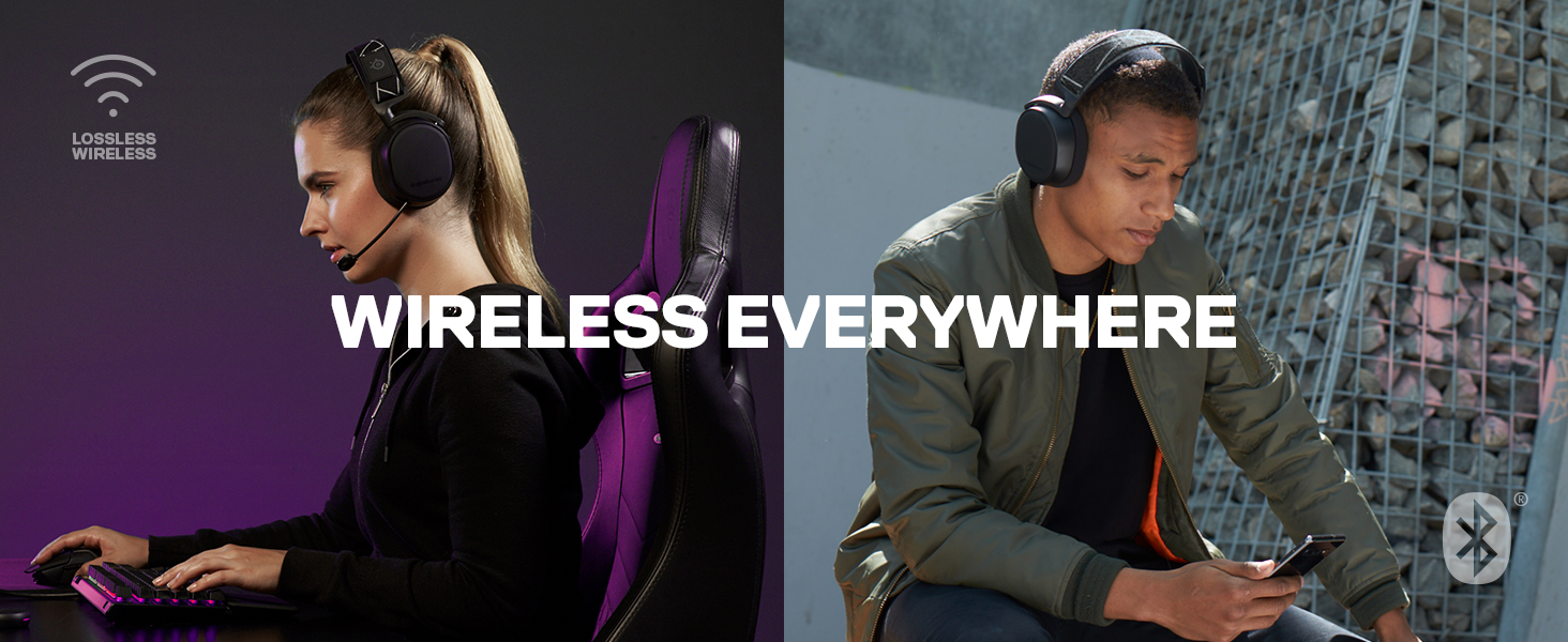 SteelSeries Arctis 9 Dual Wireless Gaming Headset, 2.4 GHz Wireless, Bluetooth, For PC, PlayStation