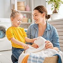 mom girl laundry