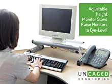 adjustable height ergonomic computer monitor stand riser