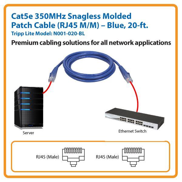 Cat5 Snagless Molded Patch Cable RJ45 M//M Blue 20/' Tripp Lite 20ft Cat5e