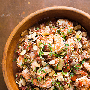 Shrimp and Couscous with Tomatoes and Toasted Almonds