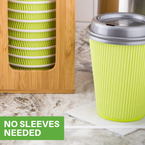 Paper coffee cups with lids ready to go. These insulated paper coffee cups don't need sleeves