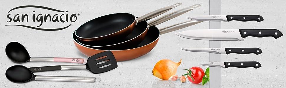 San Ignacio Professional Chef Copper Set 3 sartenes + 4 Cuchillos + 3 Utensilios, Aluminio Prensado