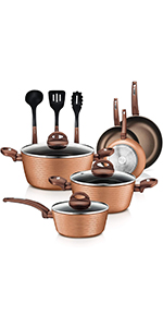 NutriChef Nonstick Kitchen Cookware Set - Professional Hard Anodized Home Kitchen Ware Pots and Pan