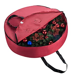 Christmas Artificial 36 inch green Holiday Wreath artificial storage bag box container