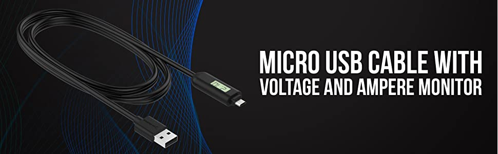 Sabrent Micro USB Cable with Voltage and Ampere Monitor 6 FT CB-MSCR