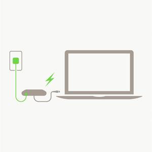 有線でインターネットに接続しながら充電が可能