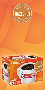 ... Dunkin Donuts Hazelnut flavored Keurig K-Cup Pods medium roast ground 100% Arabica coffee ...
