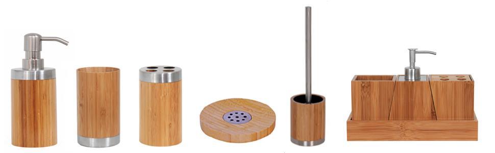 25.5x8x18 cm MSV Lote DE 3 Accesorios DE Bambu Beige