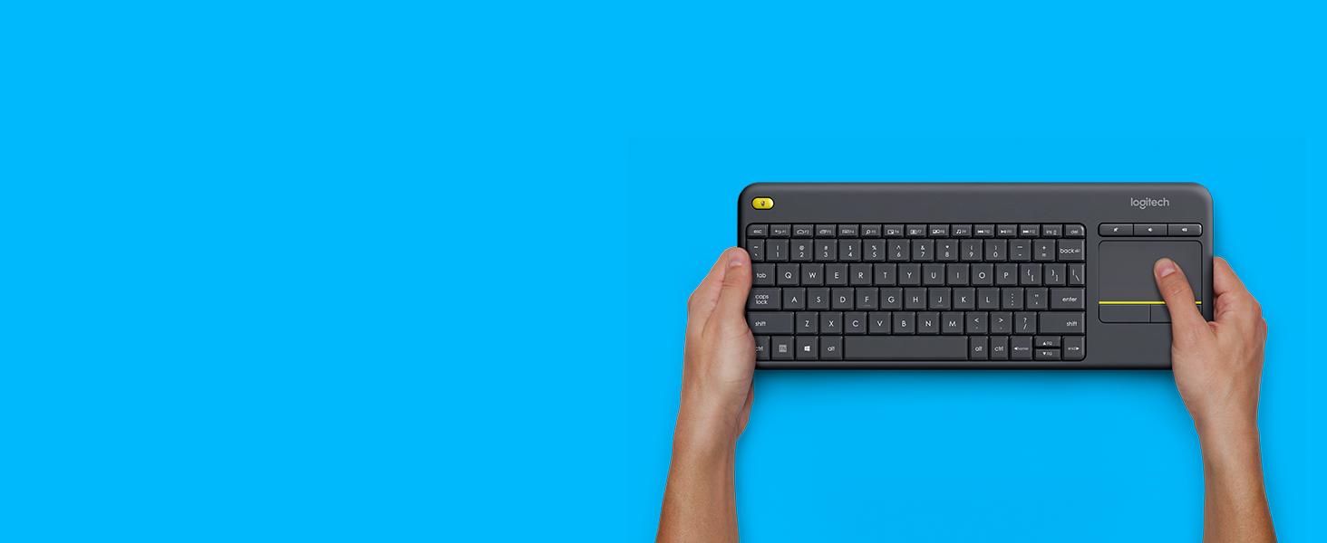 Logitech K400 Plus Teclado Inalámbrico con Touchpad para Televisores Conectados a PC, Teclas Especiales Multi-Media, Windows, Android, Ordenador/Tablet, Disposición QWERTY Español, color Negro: Logitech: Amazon.es: Informática