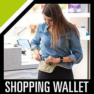 hidden shopping wallet shop easy reach white black blue skin color