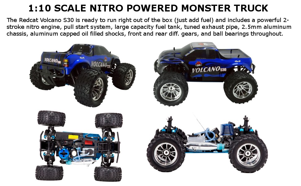 Amazon Com Redcat Racing Nitro 2 4ghz Volcano S30 Truck 1 10 Scale Blue Silver Toys Games