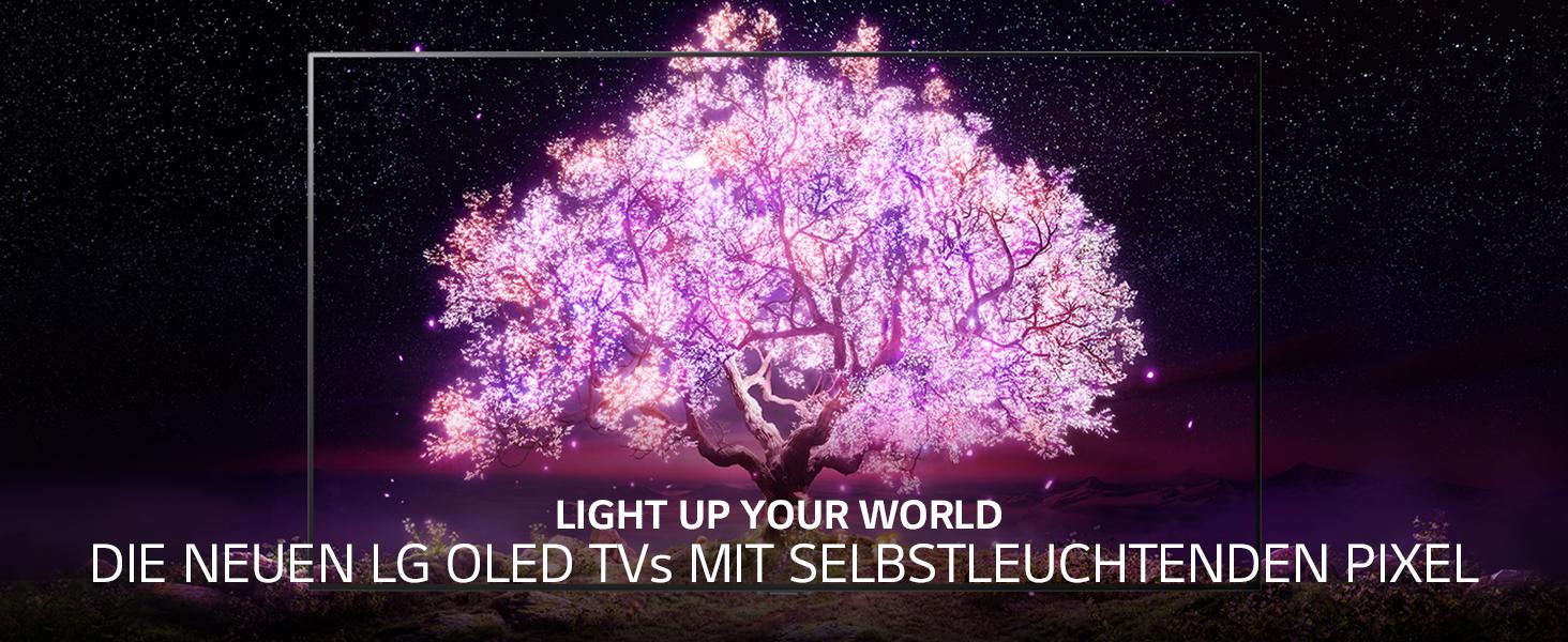 leuchtender kontrastreicher Baum bei Nacht auf Berggipfel in Großaufnahme