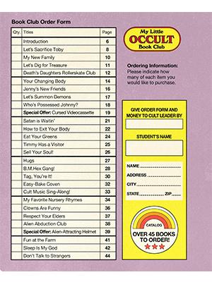 occult, book club, catalog, book club order form