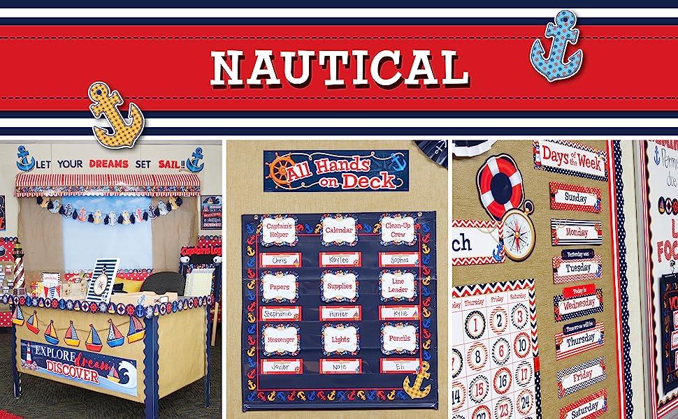 nautical theme banner with classroom photos