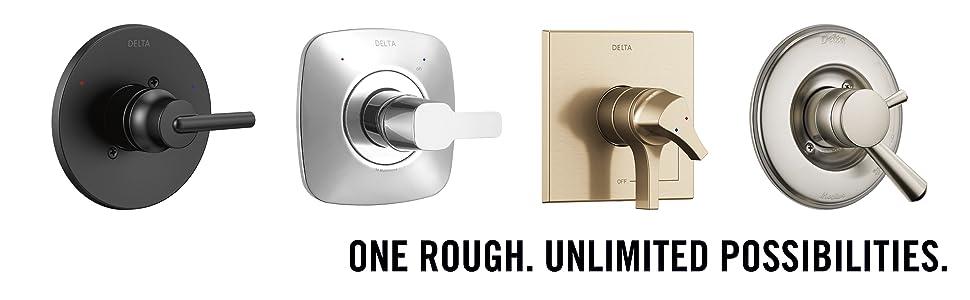 R10000-UNBX delta rough valve multichoice universal trim shower kit handle matte black gold head