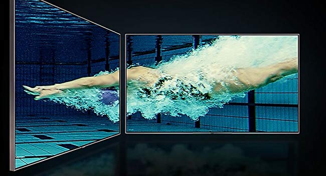 UHD TV with underwater scene of a swimmer diving into a pool from 2 angles