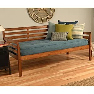 Daybed, bed, bedroom, twin, twin-size, kids, guest, couch, spare, guest, mattress, wood, brown,