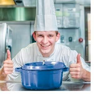 blue, heiss, get, g.e.t. enterprises, le creuset, blue, cooking, pan, dish, oven, serving, roaster