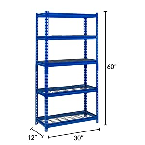 blue steel shelving, industrial shelf, modular shelving unit, Muscle Rack, steel storage rack