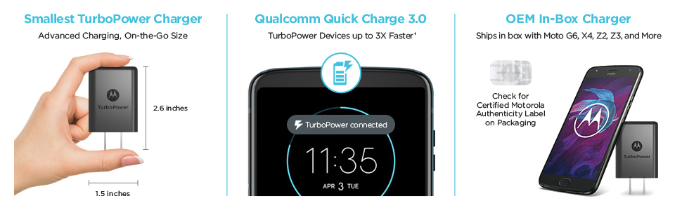 Amazon.com: Motorola TurboPower 15+ QC3.0 Chargers w/ 6.6ft ...