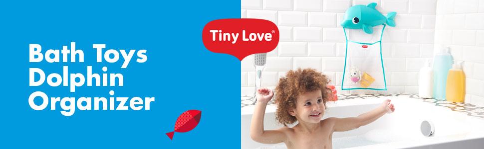 Aufbewahrung f/ür Badespielzeug sicherer Halt dank starker Saugn/äpfe mehrfarbig Bad Spielzeug einfach und schnell im niedlichen Delphin Netz verstauen Tiny Love Bath Toy Organizer